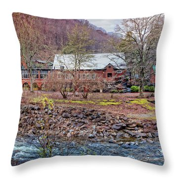 Throw Pillow featuring the photograph Tapoco Lodge by Debra and Dave Vanderlaan