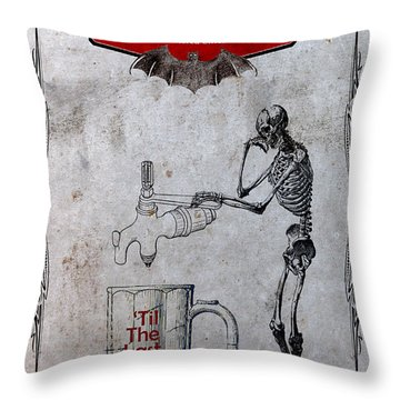 Throw Pillow featuring the digital art Tapped Out Ale by Greg Sharpe