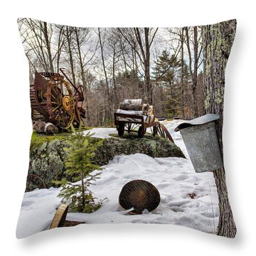 Throw Pillow featuring the photograph Tapping A Maple Sugar Tree by Betty Pauwels