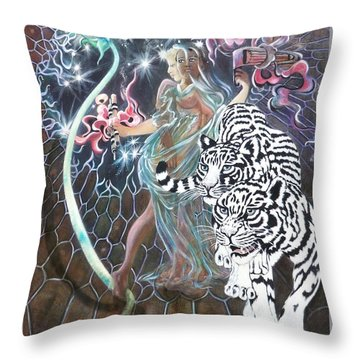 Throw Pillow featuring the painting Tapping The Lifeline by Sigrid Tune
