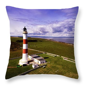 Tarbat Ness Lighthouse Throw Pillow