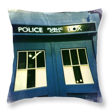 Tardis Dr Who Throw Pillow by Nina Prommer