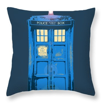 Tardis - Think Inside The Box Throw Pillow by Richard Reeve