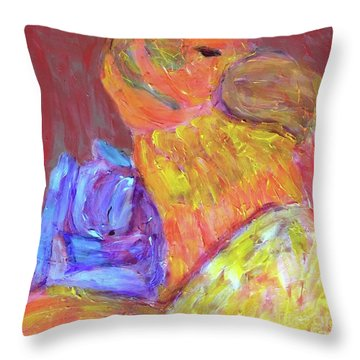 Throw Pillow featuring the painting Tarella Napping With Merline by Donald J Ryker III