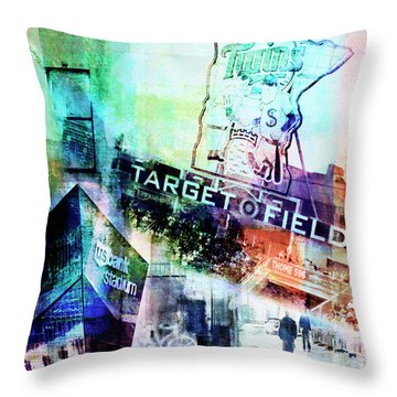 Throw Pillow featuring the digital art Target Field Us Bank Staduim  by Susan Stone