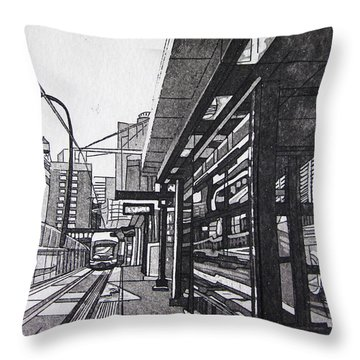 Throw Pillow featuring the mixed media Target Station by Jude Labuszewski