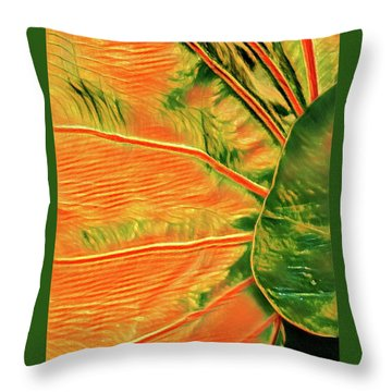 Taro Leaf In Orange - The Other Side Throw Pillow