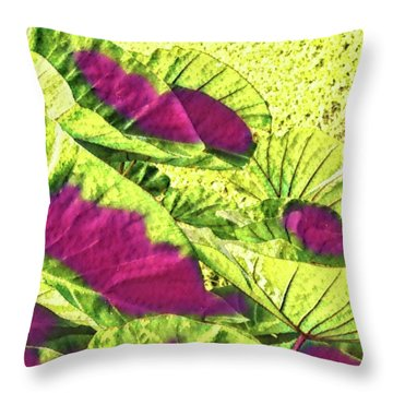 Taro Leaves In Green And Red Throw Pillow