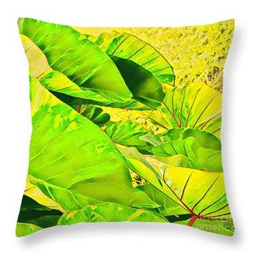 Taro Leaves In Green Throw Pillow