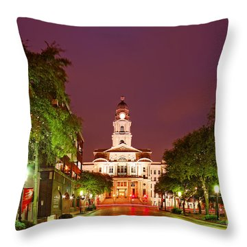 Tarrant County Courthouse At Twilight - Fort Worth North Texas Throw Pillow