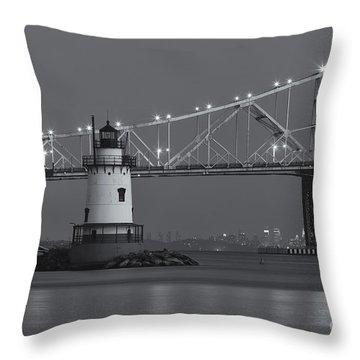 Tarrytown Lighthouse And Tappan Zee Bridge At Twilight II Throw Pillow