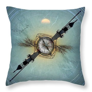 Tarrytown Lighthouse Tiny Planet Throw Pillow by Susan Candelario