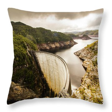 Tasmania Hydropower Dam Throw Pillow