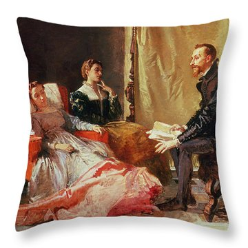 Tasso And Elenora Throw Pillow by Domenico Morelli