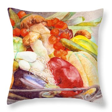 Throw Pillow featuring the painting Tastes Of Tuscany by Bonnie Rinier