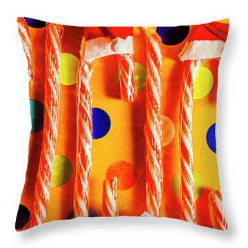 Tasty Candy Cane Sweets Throw Pillow