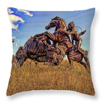 Tatanka Throw Pillow by Dave Luebbert