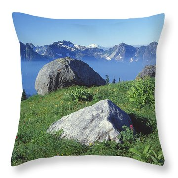 1m4862-tatoosh Range And Mt. St. Helens  Throw Pillow