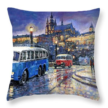 Tatra 85-91bus 1938 Praha Rnd Bus 1950 Prague Manesuv Bridge Throw Pillow