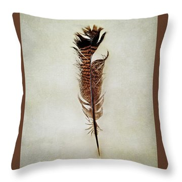 Throw Pillow featuring the photograph Tattered Turkey Feather by Stephanie Frey