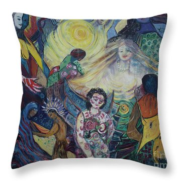 Tattooed Man  Throw Pillow by Avonelle Kelsey