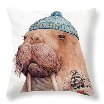 Tattooed Walrus Throw Pillow by Animal Crew