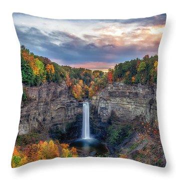 Taughannock Autumn Dusk Throw Pillow