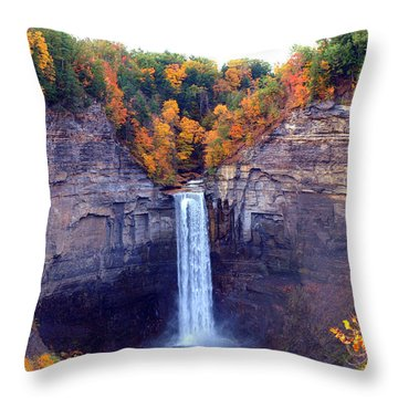 Taughannock Waterfalls In Autumn Throw Pillow by Paul Ge