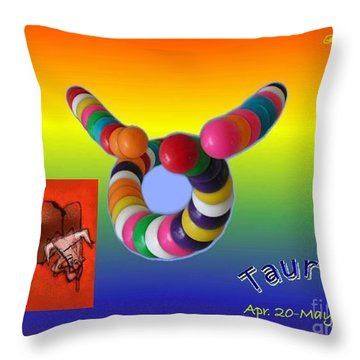 Throw Pillow featuring the painting Taurus by The Art of Alice Terrill