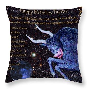 Taurus Birthday Zodiac Astrology Throw Pillow