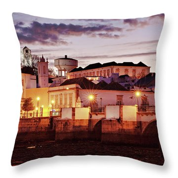 Tavira At Dusk - Portugal Throw Pillow