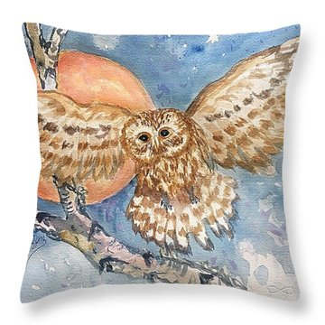 Tawny Owl And Hunters Moon  Throw Pillow