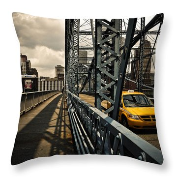 Taxi Crossing Smithfield Street Bridge Pittsburgh Pennsylvania Throw Pillow by Amy Cicconi