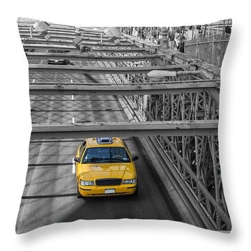 Taxi On The Brooklyn Bridge Throw Pillow
