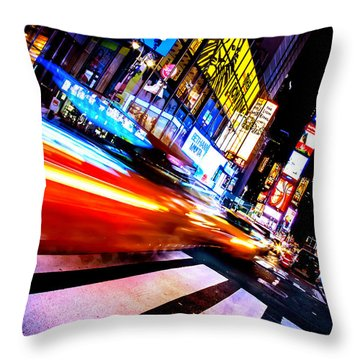 Taxis In Times Square Throw Pillow