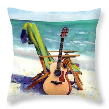 Taylor At The Beach Throw Pillow