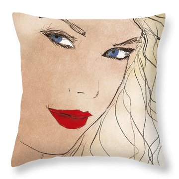 Taylor Red Lips Throw Pillow by Pablo Franchi