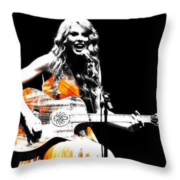 Taylor Swift 9s Throw Pillow by Brian Reaves