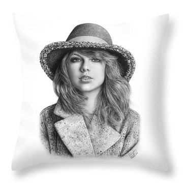 Taylor Swift Portrait Drawing Throw Pillow by Shierly Lin