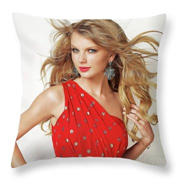 Taylor Swift Throw Pillow by Twinkle Mehta