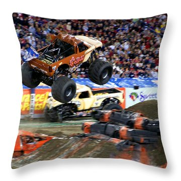 Taz Takes Flight Throw Pillow by Judy Wanamaker