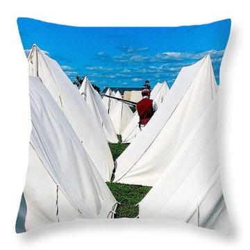 Field Of Tents Throw Pillow