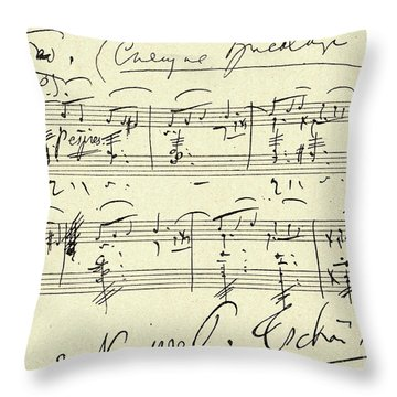 Tchaikovsky Autographed Score Throw Pillow