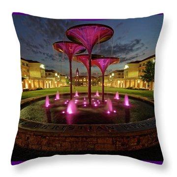 Throw Pillow featuring the photograph Tcu Frog Fountain by Jonathan Davison