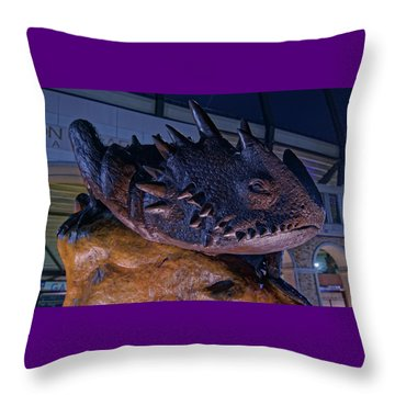 Throw Pillow featuring the photograph Tcu Frog Mascot by Jonathan Davison