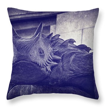 Tcu Horned Frog Purple Throw Pillow by Joan Carroll