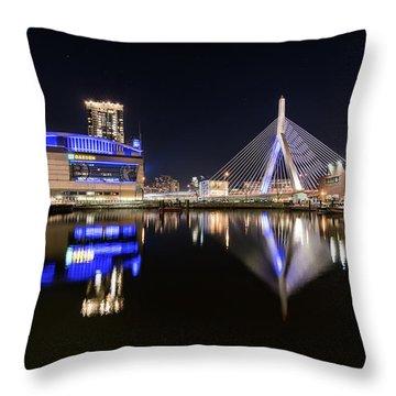 Td Garden And The Zakim Bridge At Night Throw Pillow