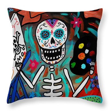 Throw Pillow featuring the painting Te Amo Painter Dia De Los Muertos by Pristine Cartera Turkus