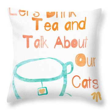 Tea And Cats Throw Pillow