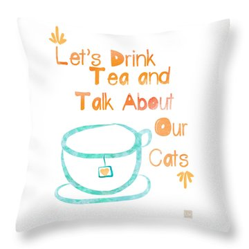 Tea And Cats Square Throw Pillow